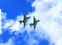 Two attack aircraft in flight Stock Photography