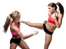 Two attractive athletic girls fighting stock image