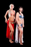 Two attractive belly dancers Stock Images