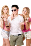 Two attractive blonde woman and young man Royalty Free Stock Images