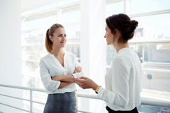 Two attractive businesswomen met in the office interior and stopped to talking about meeting with clients, Royalty Free Stock Images
