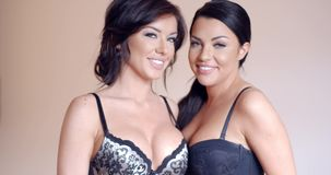 Two attractive busty women in lingerie. Two attractive busty women modelling fashion lingerie wearing stylish black bras  upper body smiling at the camera stock video footage