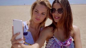 Two attractive female friends taking a selfie. Two attractive young female friends taking a selfie posing with their backs to the ocean and beach using a mobile stock video