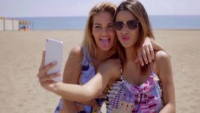Two attractive female friends taking a selfie stock video footage