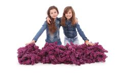 Two attractive girl sits with lilac. Stock Photos