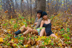 Two attractive girls. In the autumn forest Royalty Free Stock Photo