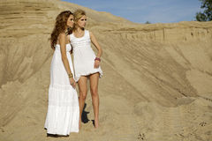 Two attractive girls friends. Blond and brunette over sand background Stock Photo