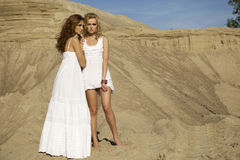 Two attractive girls friends. Blond and brunette over sand background Stock Image