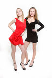 Two attractive girls over white. Two attractive girls in red and black dresses over white Royalty Free Stock Image