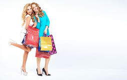 Two attractive girls on the shopping Stock Image