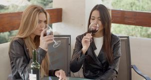 Two attractive girls sitting on balcony with wine. Two attractive girls sitting on balcony and drinking red wine from glasses. They toast stock footage