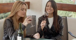 Two attractive girls sitting on balcony with wine. Two attractive girls sitting on balcony and drinking red wine from glasses. They toast stock video