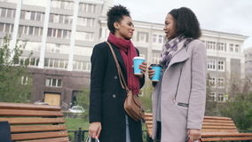 Two attractive mixed race women with shopping bags drinking coffe and talking at the street. Young girls smiling and stock video footage
