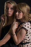 Two attractive scared women Royalty Free Stock Images