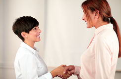 Two attractive smiling businesswomen hands shaking royalty free stock photos