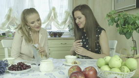 Two attractive smiling young friends having relaxing time at dining table. Portrait of two smiling young women having relaxing time at dining table.  Two stock video