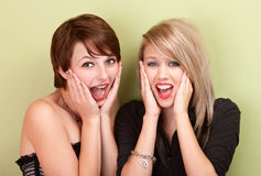 Two attractive teen girls screaming Stock Photo