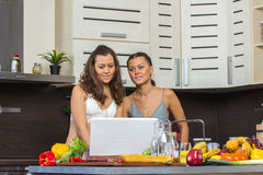 Two attractive twins women looking at laptop, standing in kitche Stock Photos