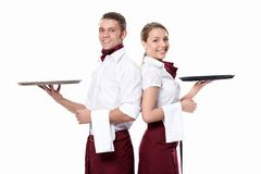 Two Attractive Waiters Stock Images