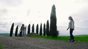 Two attractive women playing frisbee on the background of fir trees. Wide angle stock video footage