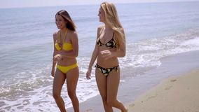 Two attractive women strolling along a beach. In their bikinis chatting and laughing as they enjoy a summer vacation at the seaside stock footage