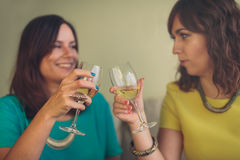 Two attractive women toasting each other with wine Stock Photo