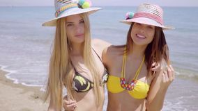 Two attractive women in trendy sunhats stock video