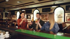 Two attractive young women and bearded young man are drinking beer sitting at bar counter, clinking and talking. Friends. Two attractive young women and bearded stock video footage