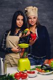 Two women preparing vegan vegetable juice with blender. Two attractive young women preparing vegan vegetable juice with blender Stock Photos