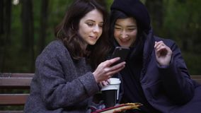 Two attractive young women with a smartphone in a park. Two attractive young women wearing coats are looking at a smartphone and talking while sitting on a bench stock video footage