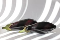 Two Aubergines Stock Photo
