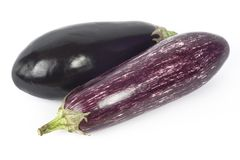 Two aubergines, egg plants Stock Photo