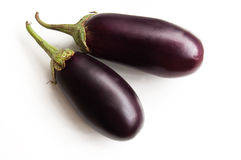 Two aubergines isolated Royalty Free Stock Photos