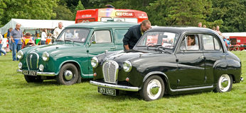 Two Austin A 35s at Ripley Castle. Royalty Free Stock Images