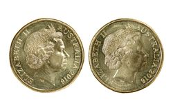 Two Australian dollar coin stock images