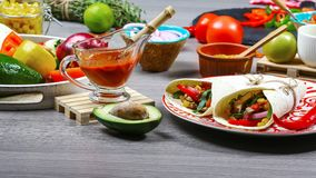 Two authentic mexican tacos flat lay composition, border Mexican cooking recipe stock image