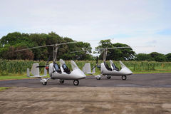 Two autogyros. Landed on the small airdrome Royalty Free Stock Photography