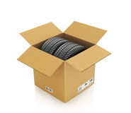 Two automobile wheels in a cardboard box Royalty Free Stock Photos
