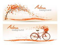Two autumn banners with colorful leaves and bicycle Stock Photos