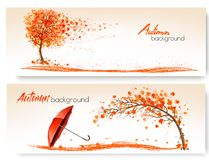 Two Autumn Banners With Trees and Umbrella. Vector stock illustration