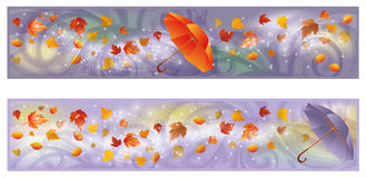 Two autumn banners with umbrella Royalty Free Stock Photo