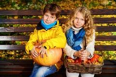 Two autumn kids Stock Photo