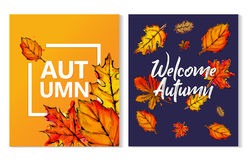 Two Autumn Typographic Paint Watercolor Fall Leaves Poster. Art Stock Image