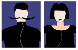 Two avatars for male and female. The man wears a mustache, and the woman has a short haircut. Characters are painted in dark colors royalty free stock photography