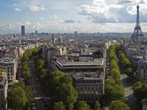 Two Avenues and The Eiffel Tower Paris royalty free stock images