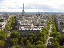 Two Avenues and The Eiffel Tower Paris royalty free stock photos