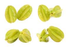 Two averrhoa carambola starfruits isolated Royalty Free Stock Image