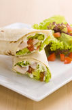 Two avocado wrap with a healthy side salad Royalty Free Stock Photo