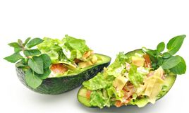 Two avocados stuffed Stock Photo