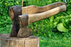 Two axes stock image